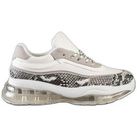 SHELOVET Sneakersy Na Przezroczystej Platformie białe wielokolorowe