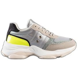 SHELOVET Komfortowe Modne Sneakersy srebrny wielokolorowe