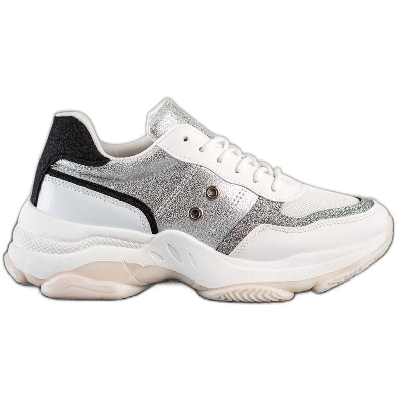 SHELOVET Komfortowe Modne Sneakersy białe wielokolorowe