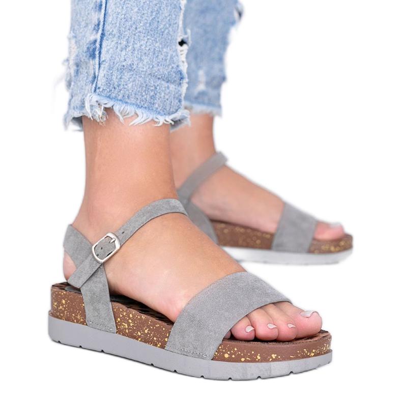 Szare sandały z wkładką w panterkę Preatty Pea