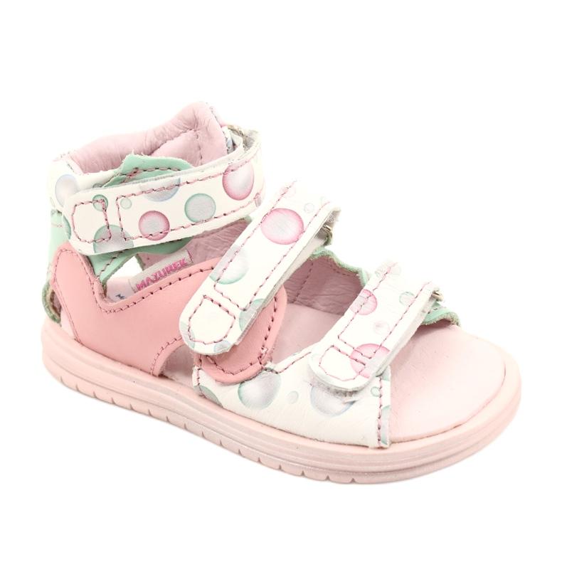 Sandałki wysokie profilaktyczne Mazurek 1291 białe różowe zielone