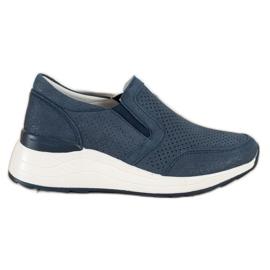 Goodin Skórzane Sneakersy Z Brokatem granatowe niebieskie
