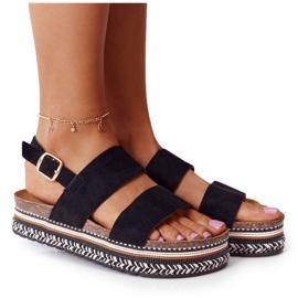 Zamszowe Sandały Na Platformie Czarne Olimpia wielokolorowe