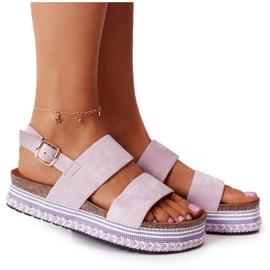 Zamszowe Sandały Na Platformie Fioletowe Olimpia