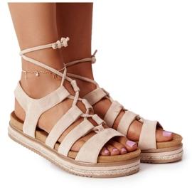 Wiązane Sandały Na Platformie Beżowe Santorini beżowy