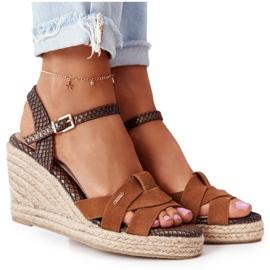 Skórzane Sandały Na Koturnie Big Star HH274377 Brązowe