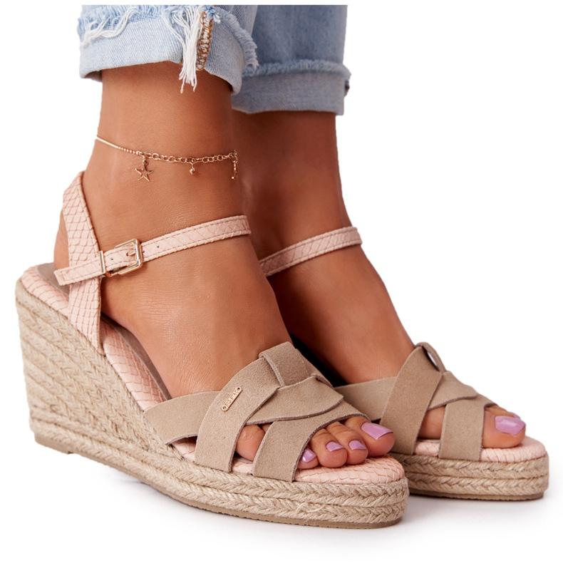 Skórzane Sandały Na Koturnie Big Star HH274380 Beżowe beżowy