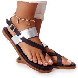 Skórzane Sandały Japonki Big Star HH274712 Czarno-Srebrne czarne srebrny