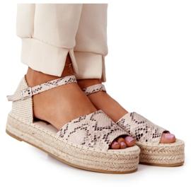 Sandały Na Platformie Z Plecionką Beżowe Wężowy Wzór Megara beżowy brązowe