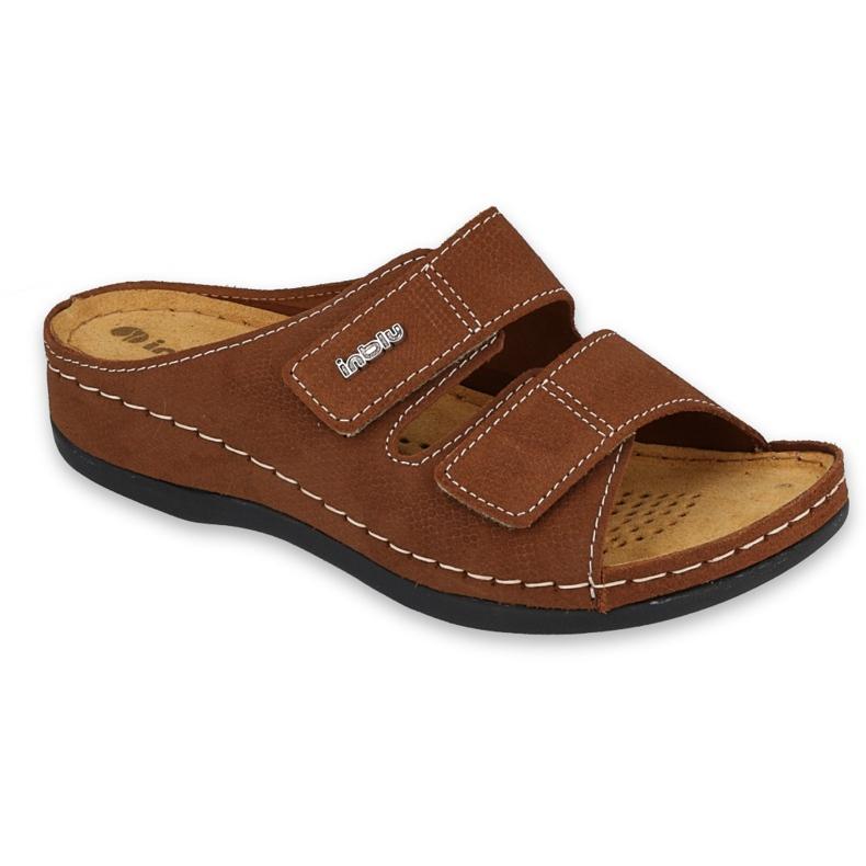 Inblu klapki obuwie damskie  158D178 brązowe