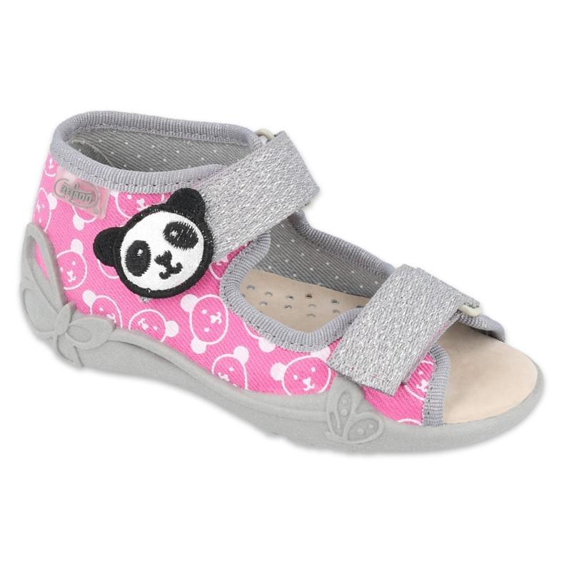 Befado obuwie dziecięce  342P030 różowe szare