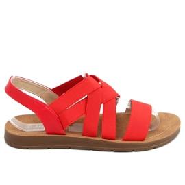 Sandałki z gumowymi paskami czerwone 9225 Red