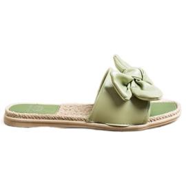 Small Swan Klapki Z Eko Skóry Z Kokardą zielone