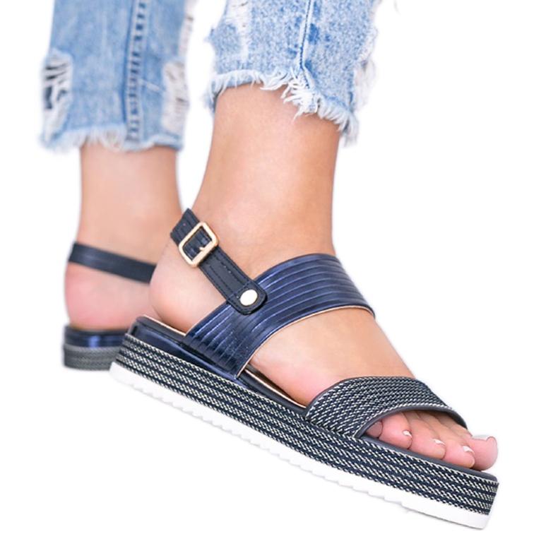 Granatowe sandały na grubej podeszwie Senorita