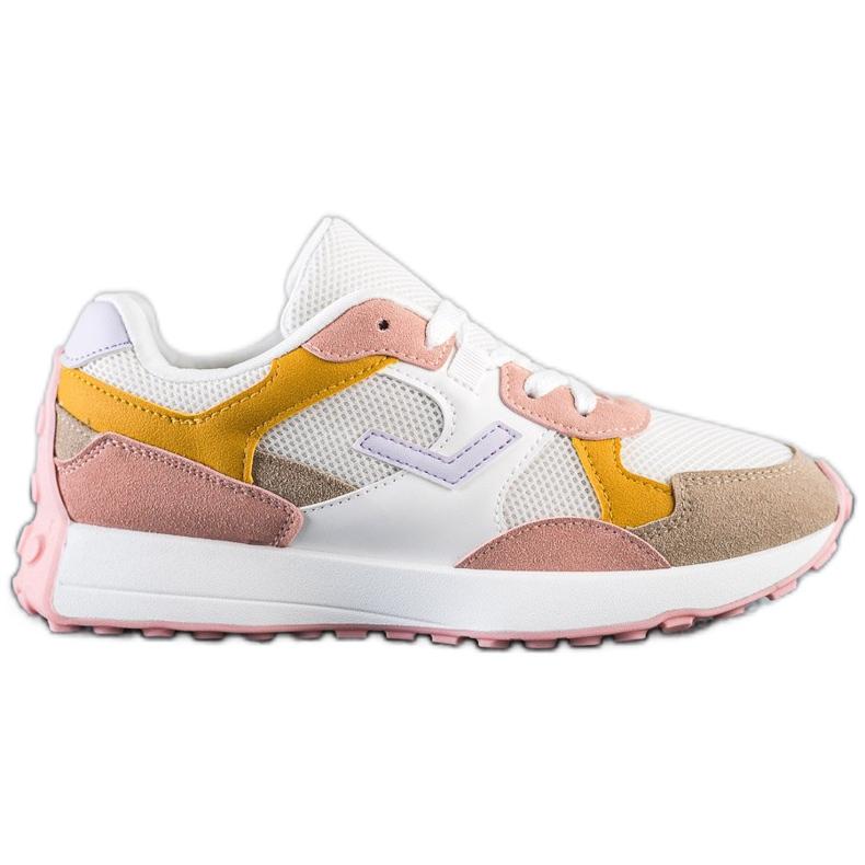 SHELOVET Kolorowe Sneakersy białe wielokolorowe