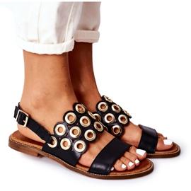 Skórzane Ażurowe Sandały Lewski Shoes 3042 Czarne