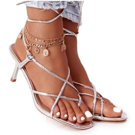 PS1 Wiązane Sandały Na Szpilce Z Kwadratowym Noskiem Srebrne Runway srebrny