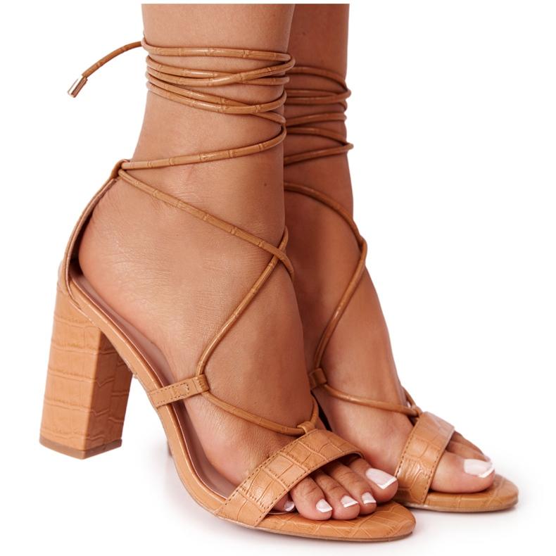 PS1 Wiązane Sandały Na Słupku Camel Catwalk brązowe