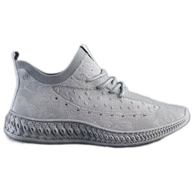 SHELOVET Szare Tekstylne Sneakersy