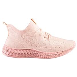 SHELOVET Różowe Tekstylne Sneakersy