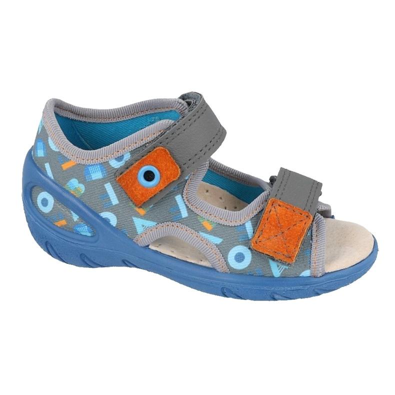 Befado obuwie dziecięce pu 065P160 niebieskie szare