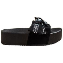 SHELOVET Klapki Z Kokardą Fashion czarne