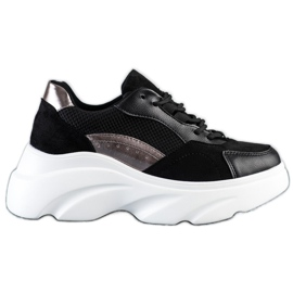 Seastar Czarne Sneakersy Na Platformie