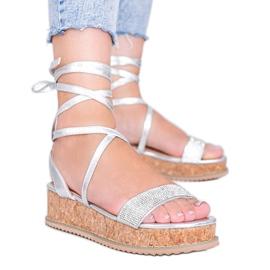 Srebrne sandały wiązane z cyrkoniami Ves srebrny