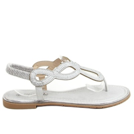 Sandałki japonki srebrne 6170 Silver srebrny