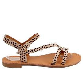 Sandałki damskie w kropki BH1651-SD Beige beżowy