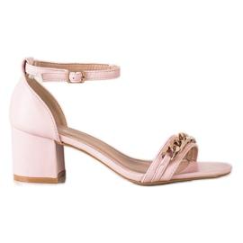 SHELOVET Sandały Z Ozdobnym Łańcuchem różowe