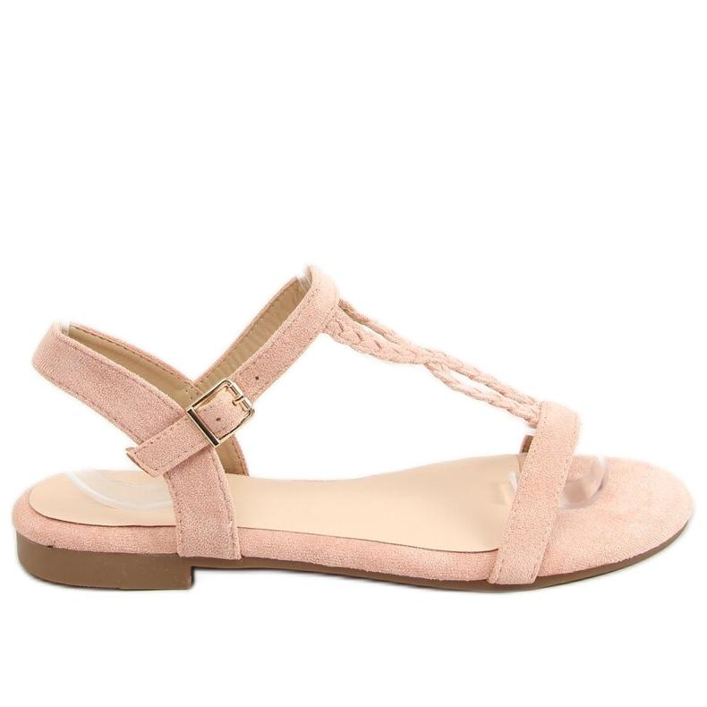 Sandałki zamszowe różowe Z5721 Pink