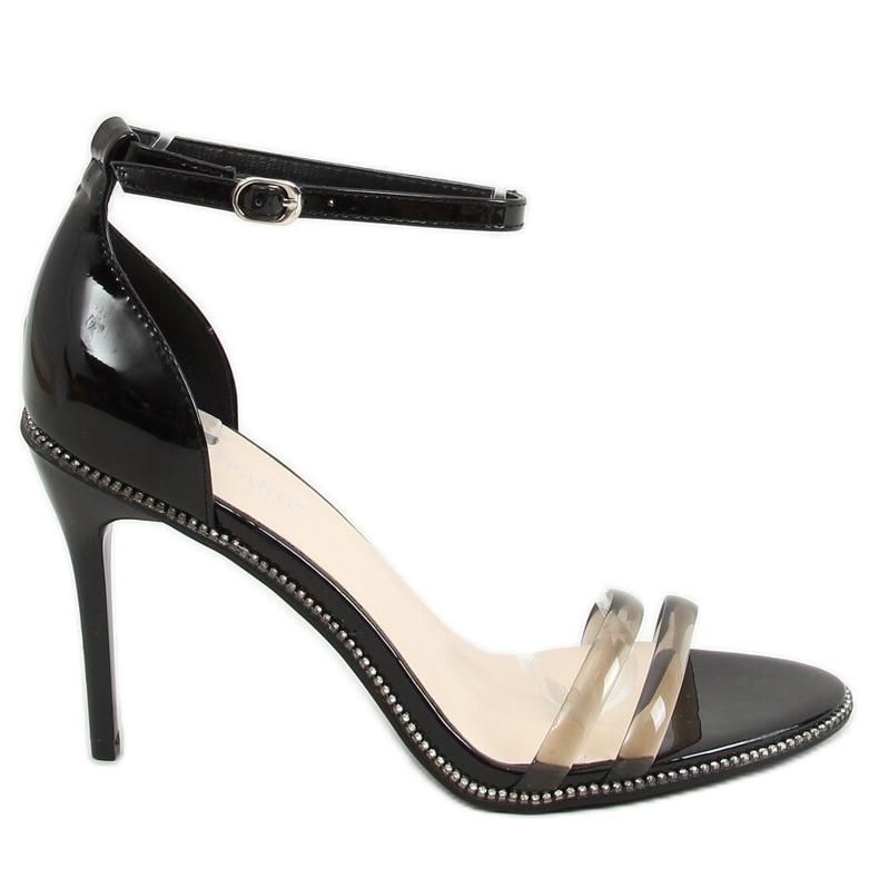 Sandałki na szpilce czarne P2L6735-6 Black