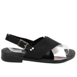 Sandałki damskie czarne S060117 Black srebrny