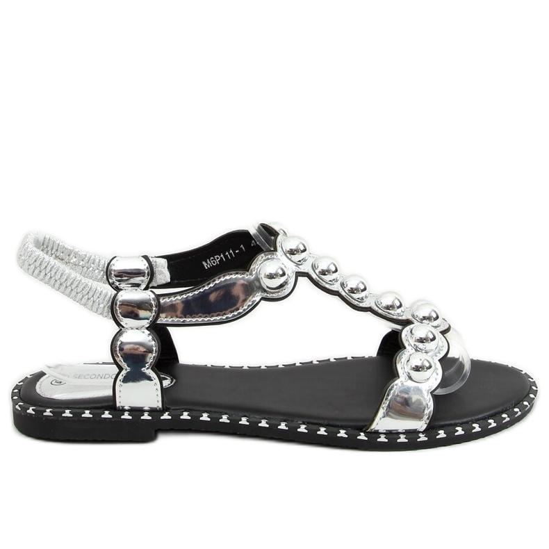 Sandałki damskie srebrne M6P111-1 Silver srebrny