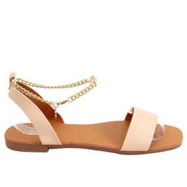 Sandałki z łańcuszkiem beżowe HY23-11 Nude beżowy