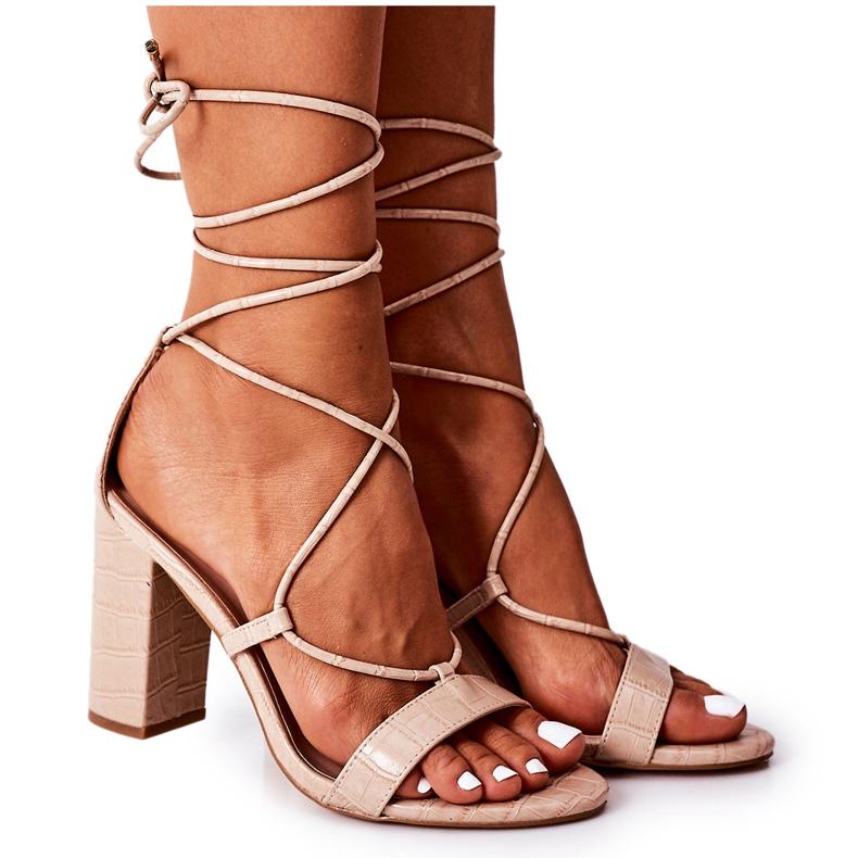 PS1 Wiązane Sandały Na Słupku Beżowe Catwalk beżowy