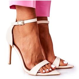 Eleganckie Sandały Na Szpilce Lu Boo Beżowe beżowy