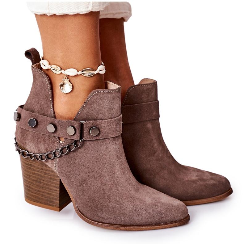 Welurowe Botki Na Słupku Lewski Shoes 2880 Brązowe