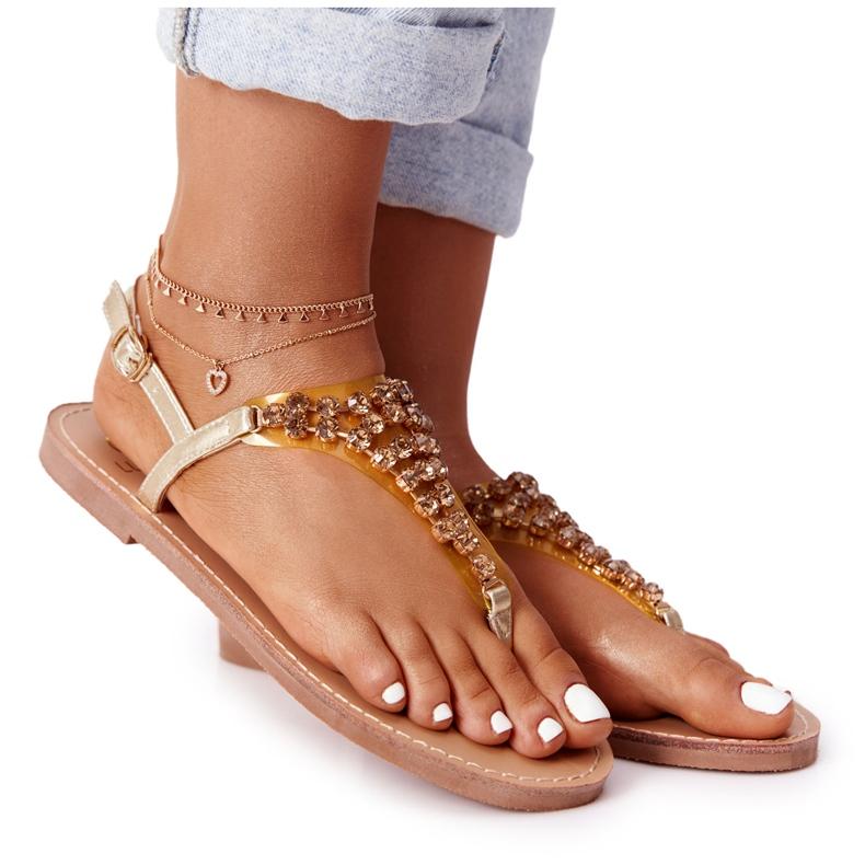 Sandały Japonki Z Kamieniami Lu Boo Złote złoty
