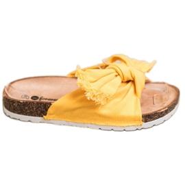 Forever Folie Wygodne Tekstylne Klapki żółte