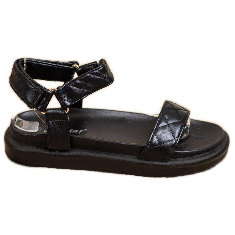 Seastar Czarne Sandałki Z Eko Skóry
