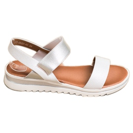 Best Shoes Modne Wsuwane Sandały srebrny