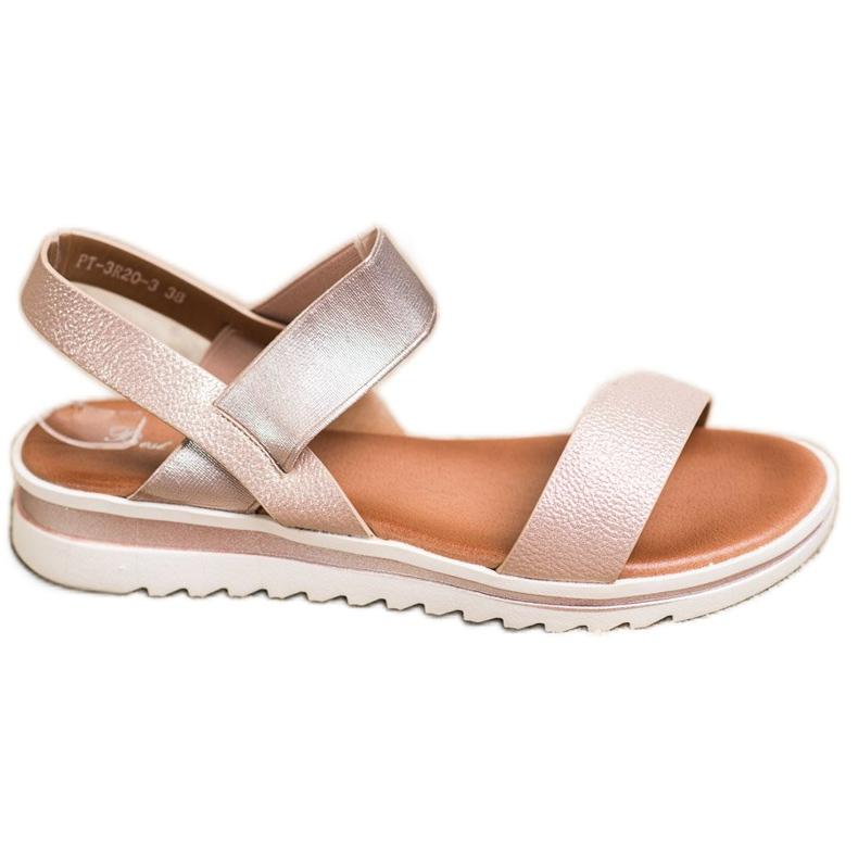 Best Shoes Modne Wsuwane Sandały różowe złoty
