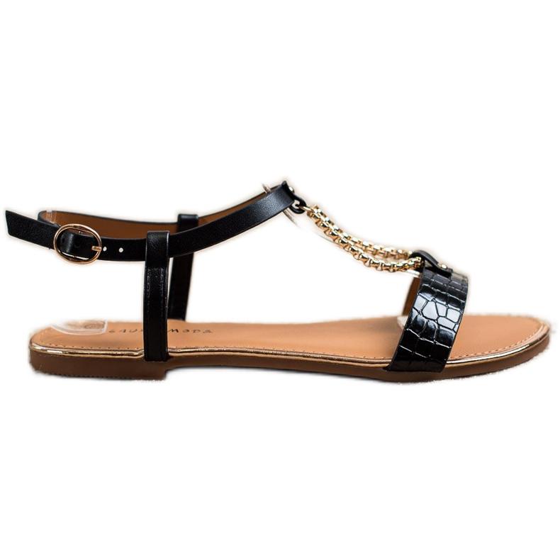 Laura Mode Sandałki Z Ozdobnym Łańcuszkiem czarne