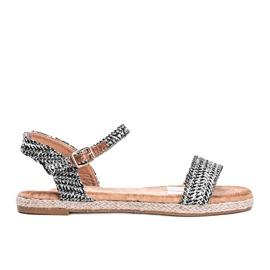 Czarno srebrne sandały damskie Baleria czarne srebrny