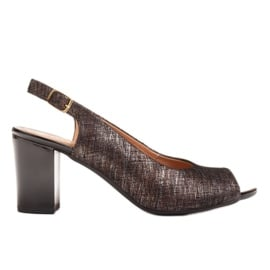 Marco Shoes Czarne sandały Marco z metalicznym wzorem