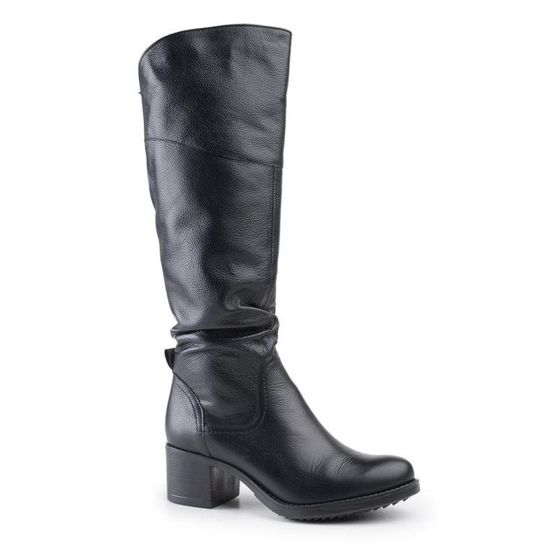 Marco Shoes Czarne kozaki ze skóry naturalnej