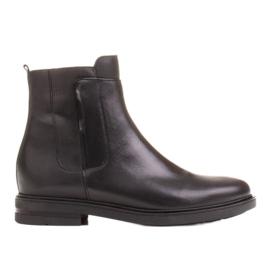 Marco Shoes Lekkie botki na płaskim spodzie ze skóry licowej czarnej