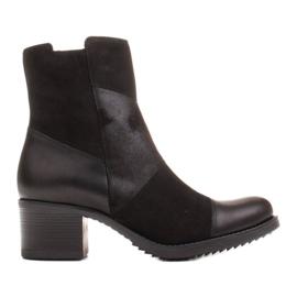 Marco Shoes Komfortowe damskie botki w połączeniu skóry licowej i nubuku czarne